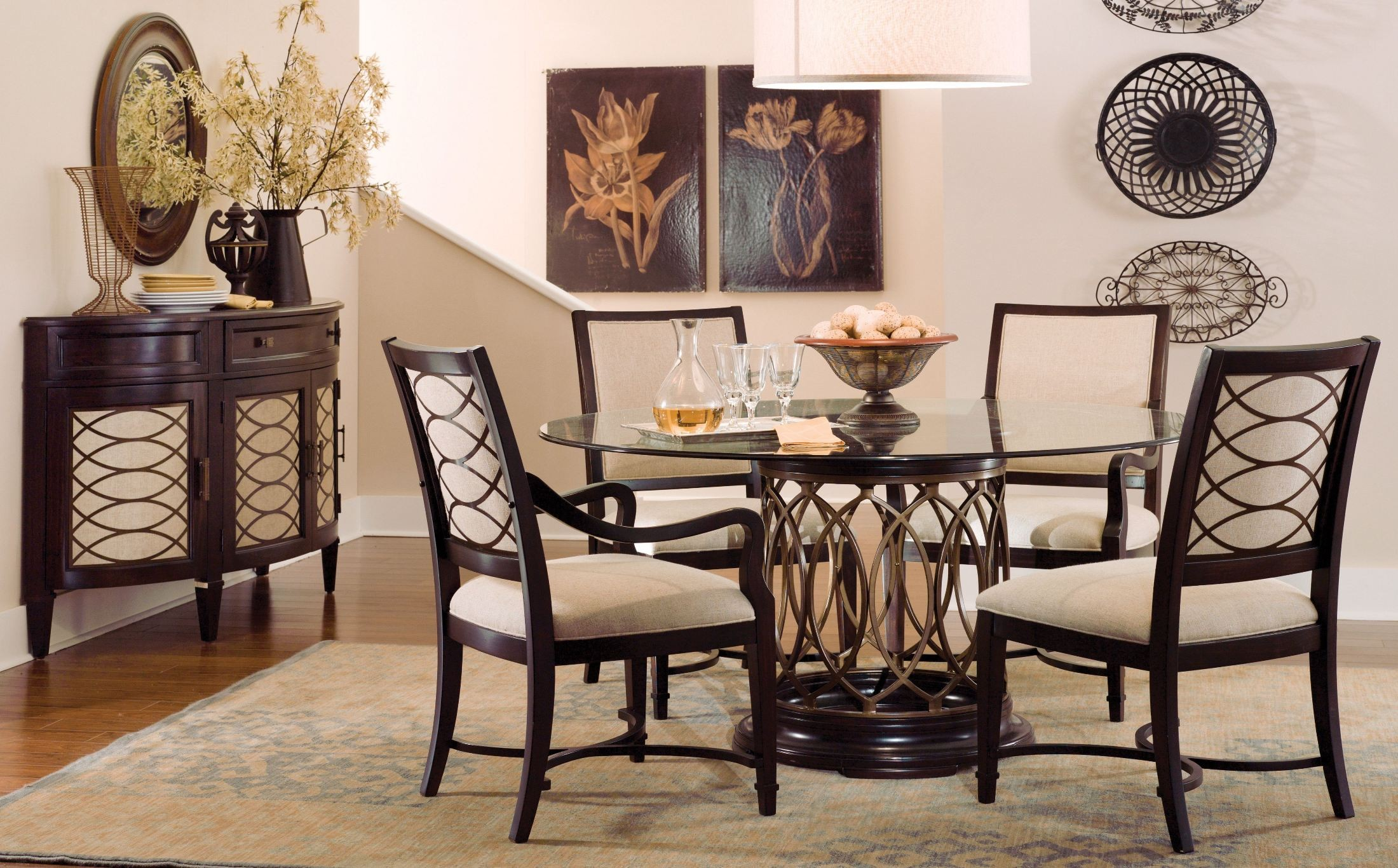Dining Room Furniture Glass Intrigue Round Glass Top Dining Room Set From Art