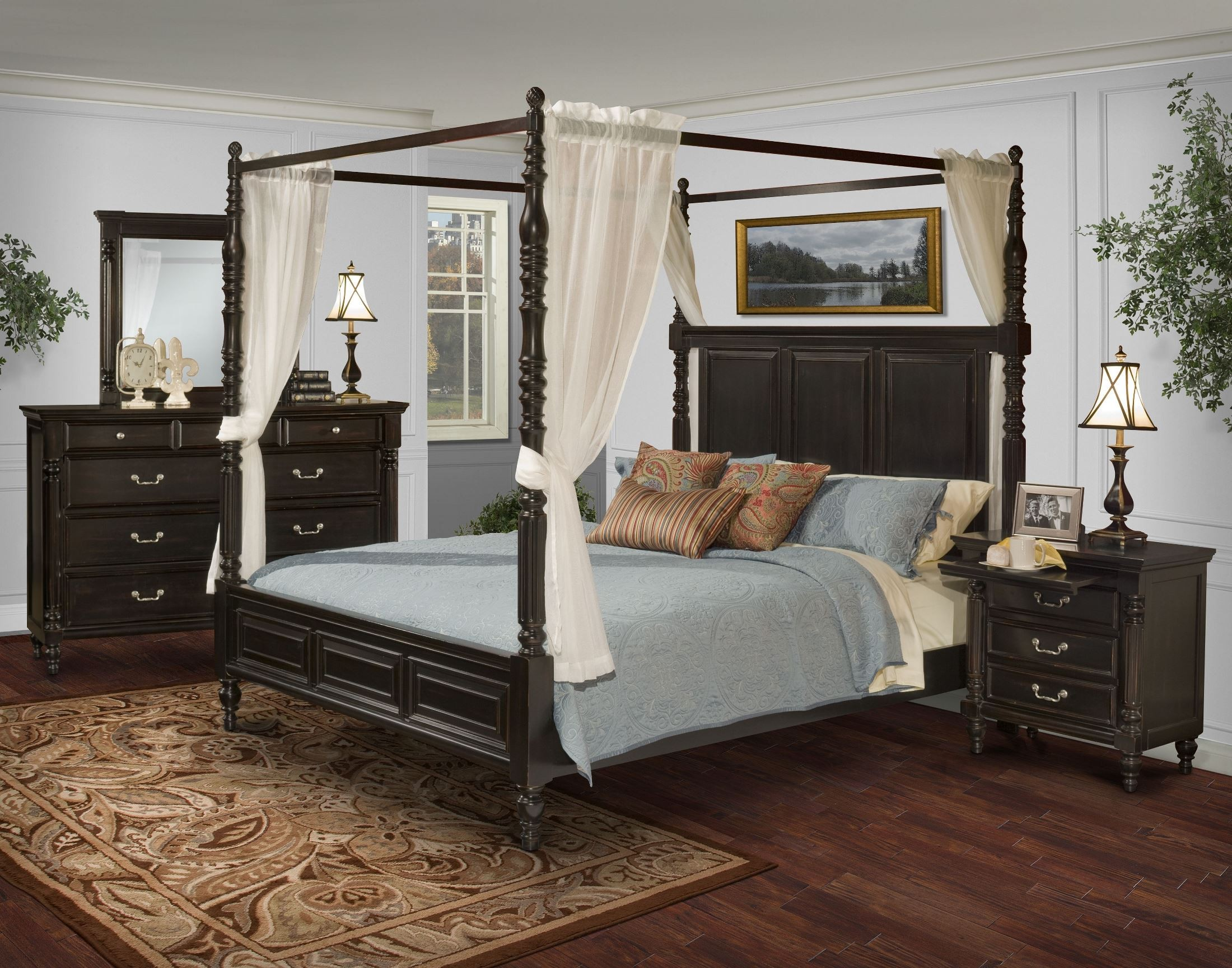 Two Bedroom Set Martinique Rubbed Black Canopy Bedroom Set With Drapes