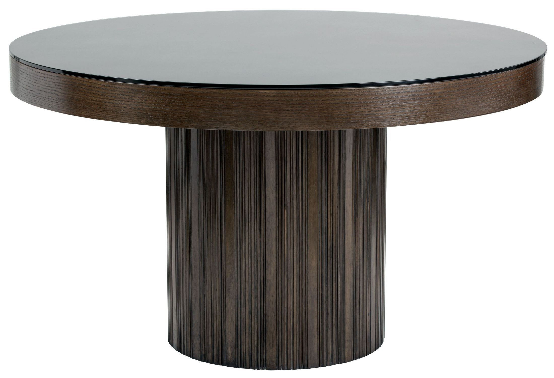 Jakarta Round Black Glass Top Dining Table from Sunpan