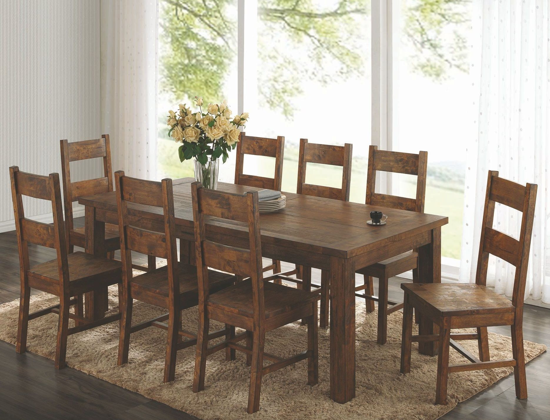 Dining Room Furniture Rustic Coleman Rustic Golden Brown Rectangular Dining Room Set
