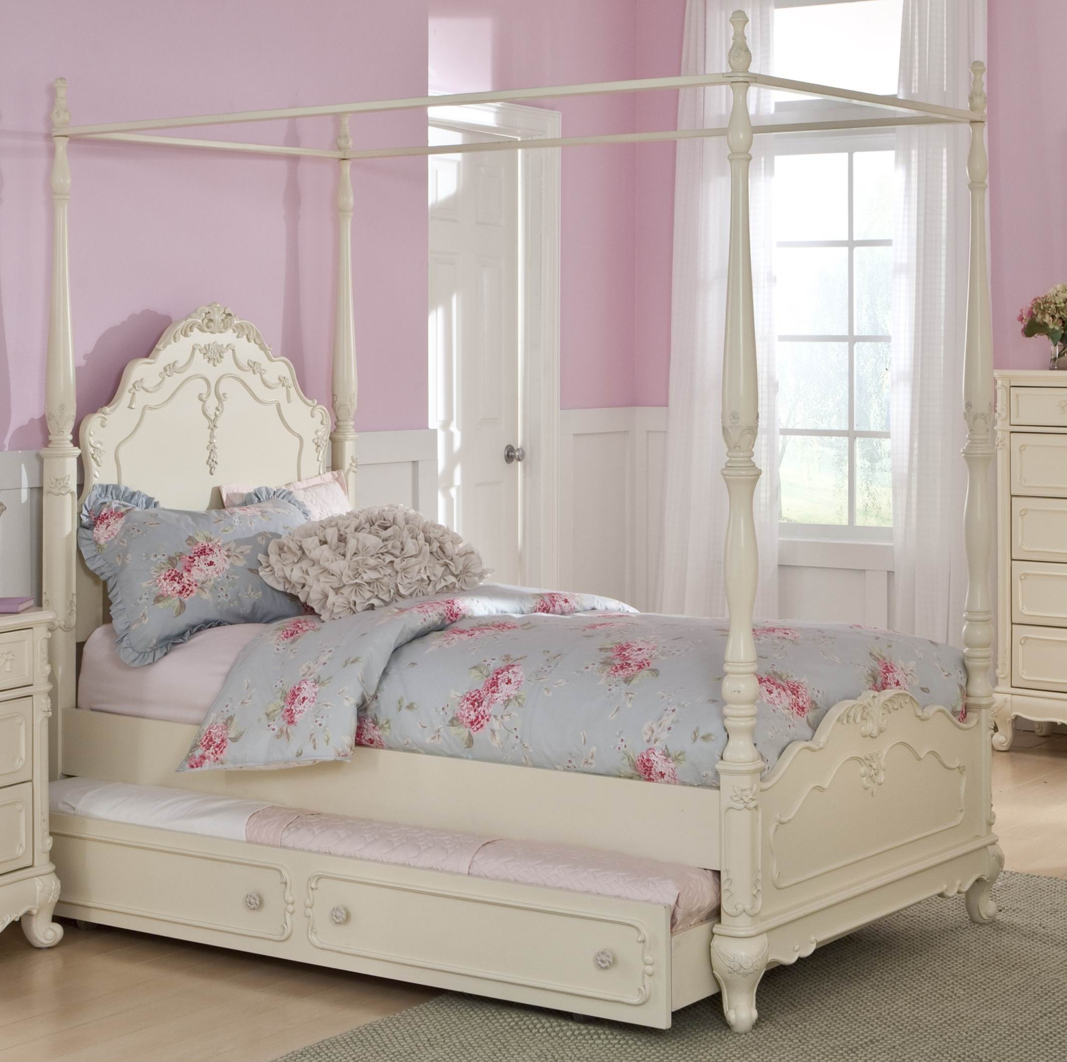 4 Poster Princess Bed Cinderella Full Canopy Poster Bed From Homelegance