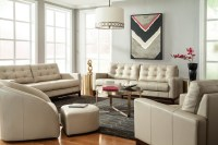 Clayton Taupe Leather Living Room Set from Lazzaro ...