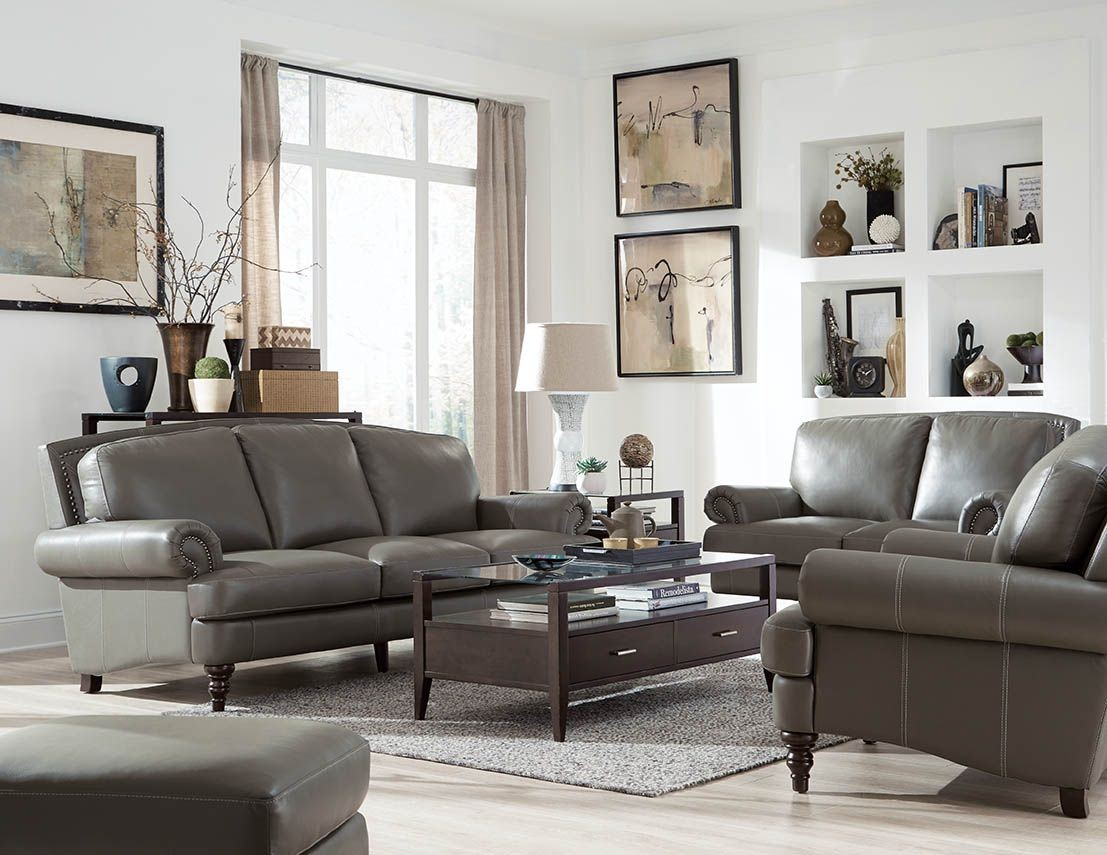Leather Living Juliette Battleship Grey Leather Living Room Set Wh 1615