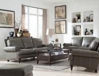 Juliette Battleship Grey Leather Living Room Set, WH-1615 ...