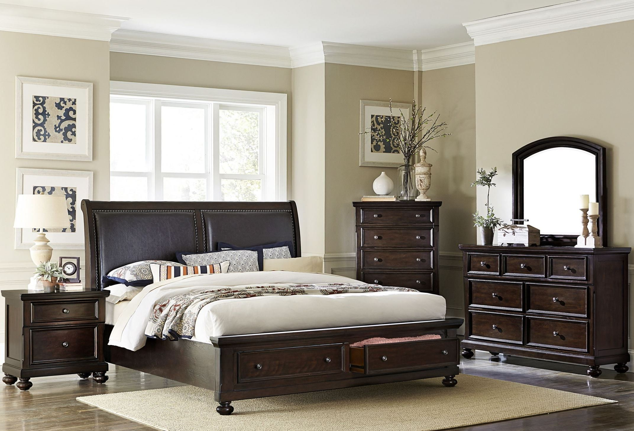 Faust Dark Cherry Storage Platform Bedroom Set from