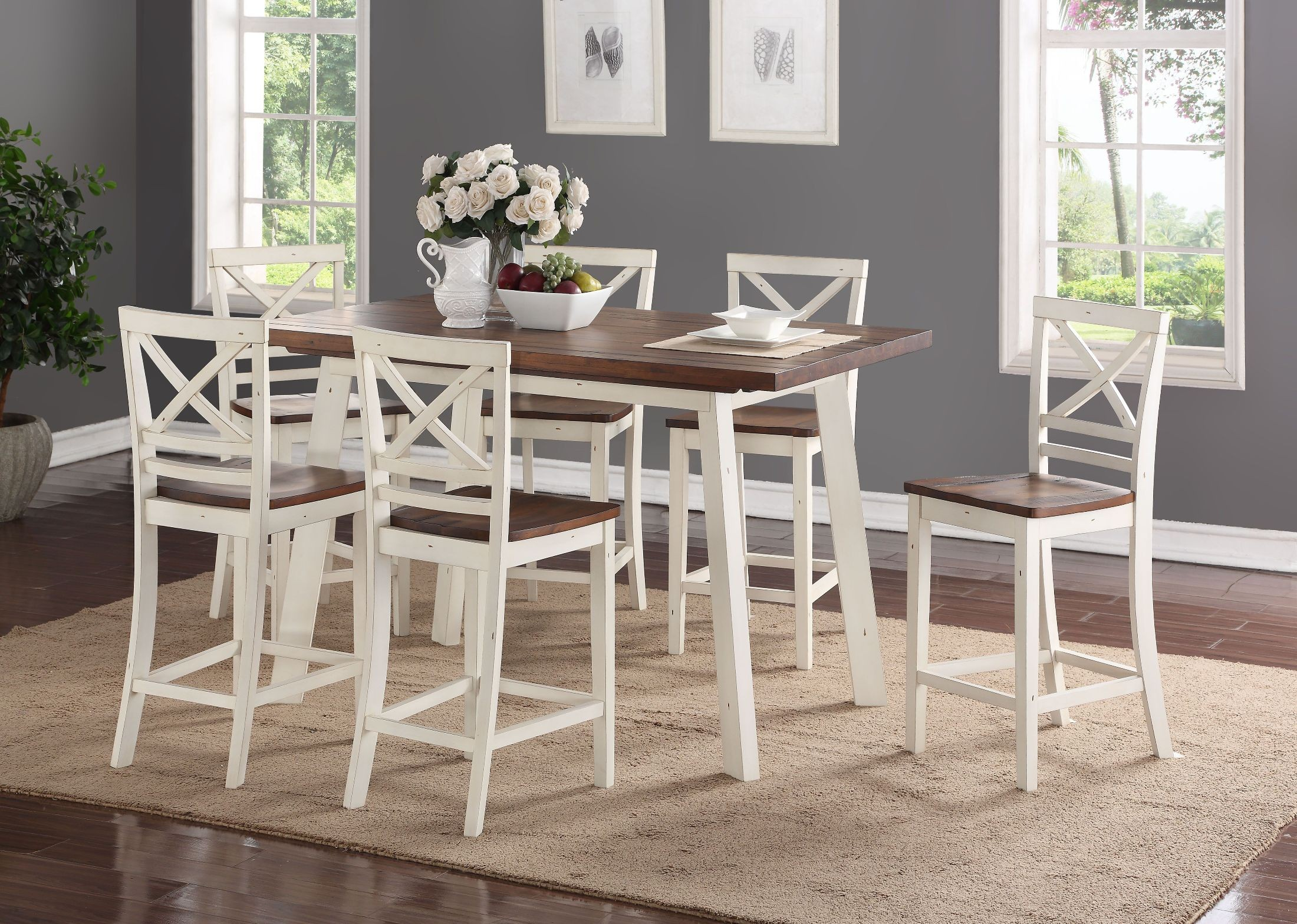 White Dining Table Set Amelia White And Chestnut Counter Height Dining Table Set