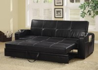 Faux Leather Sofa Bed With Storage And Cup Holders from ...