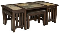 Napa Valley Brown Oak Cocktail Table With 4 Stools, 20651 ...