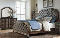 Tuscan Valley Weathered Oak Upholstered Panel Bedroom Set ...
