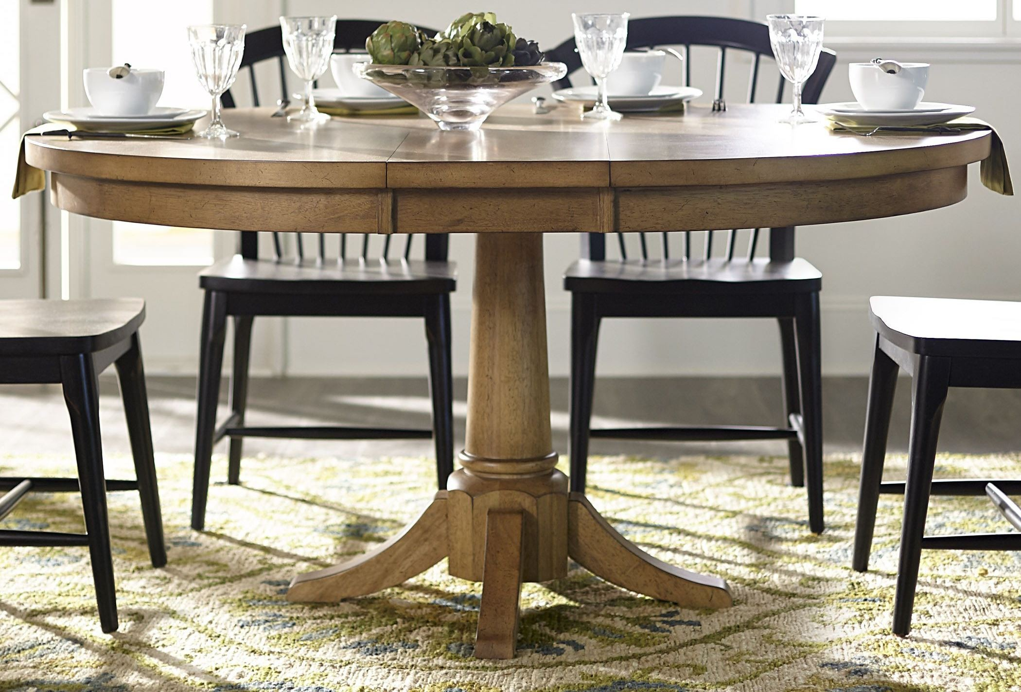 Expandable Round Dining Table For Sale Candler Nutmeg Expandable Round Pedestal Dining Table From