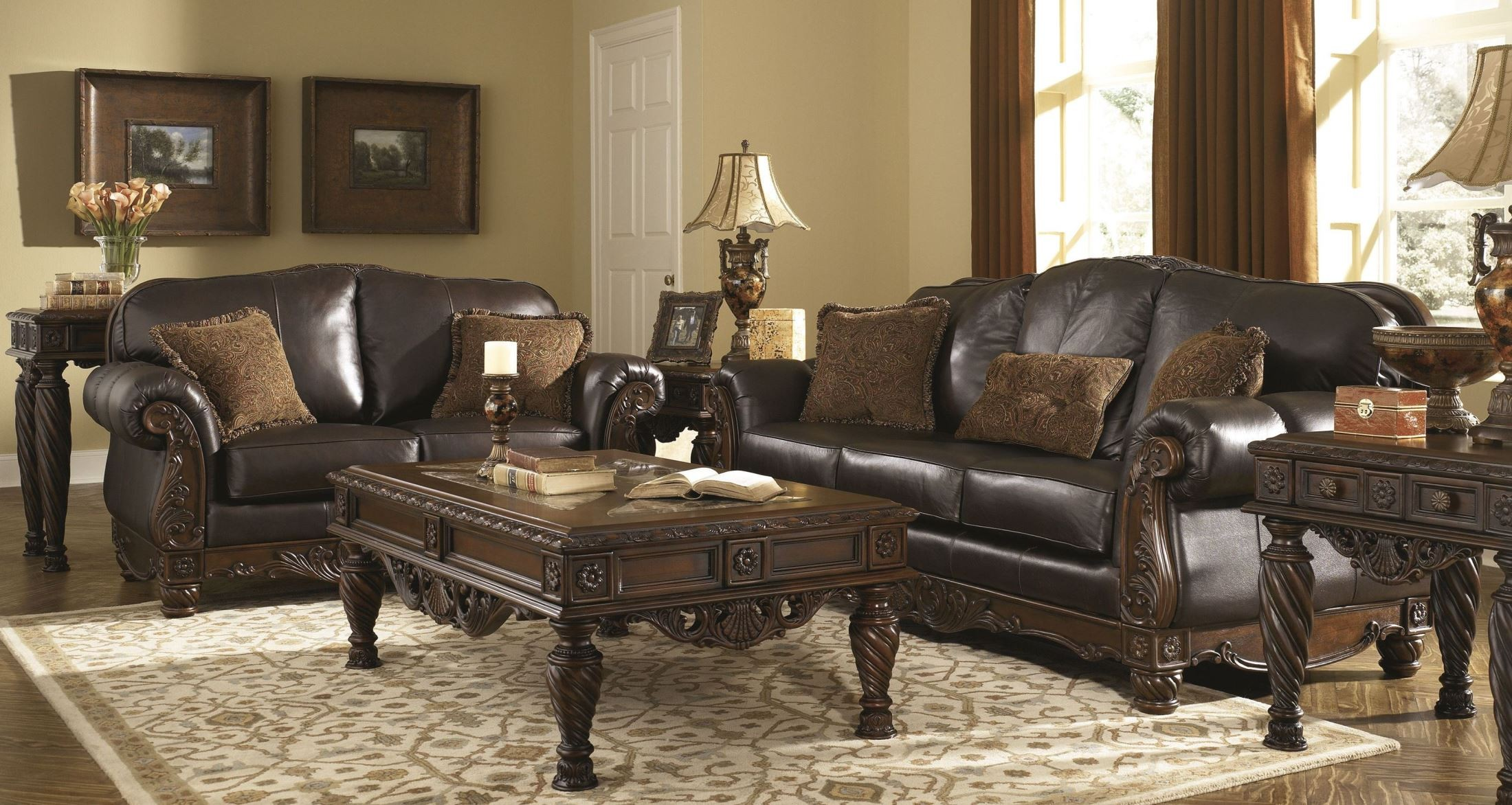 Sofa Set For Drawing Room With Price North Shore Dark Brown Living Room Set From Ashley 22603