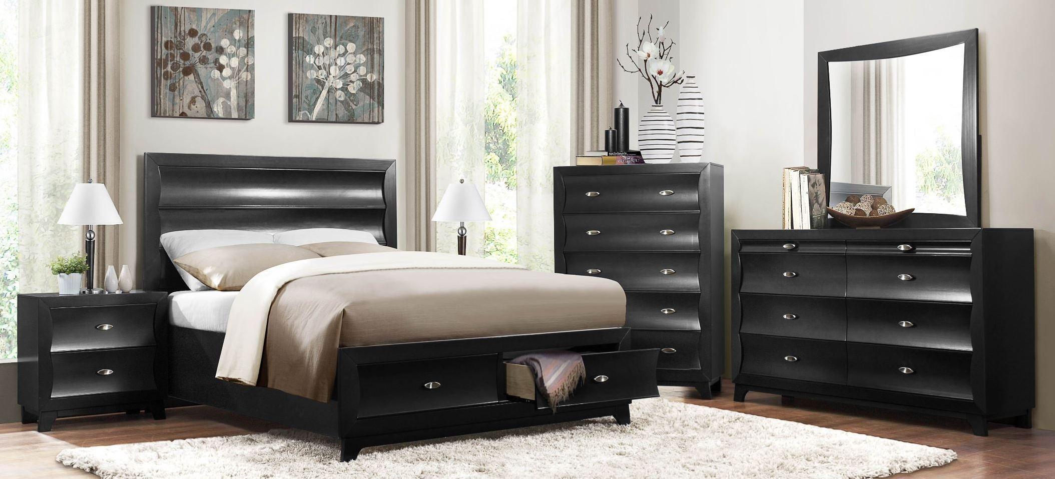 Zandra Black Platform Storage Bedroom Set from Homelegance