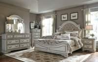 Magnolia Manor Antique White Upholstered Panel Bedroom Set ...