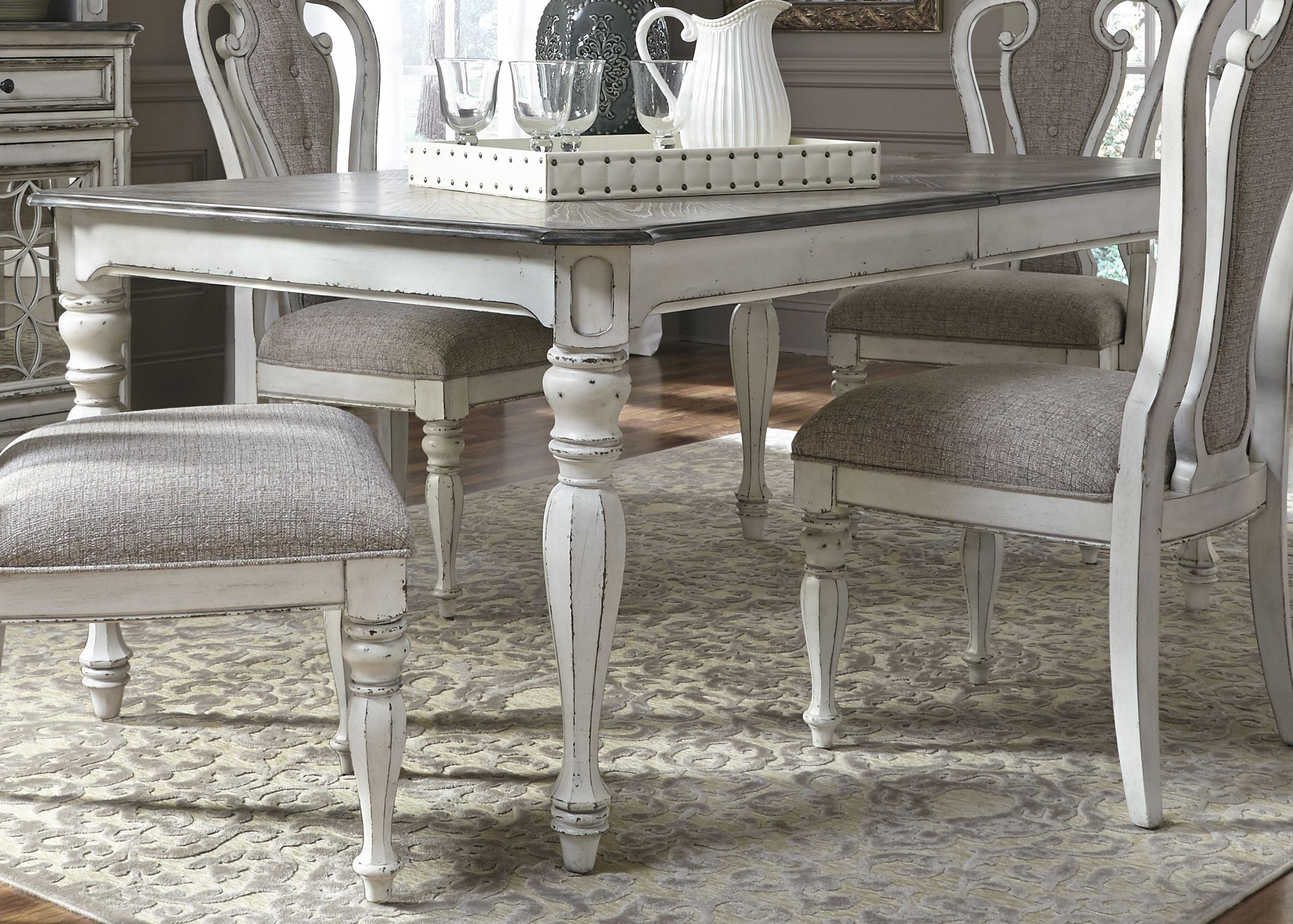 White Dining Table Extendable Magnolia Manor Antique White Extendable Rectangular Dining