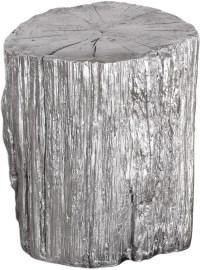 Cambium Silver Tree Stump Stool, 24663, Uttermost