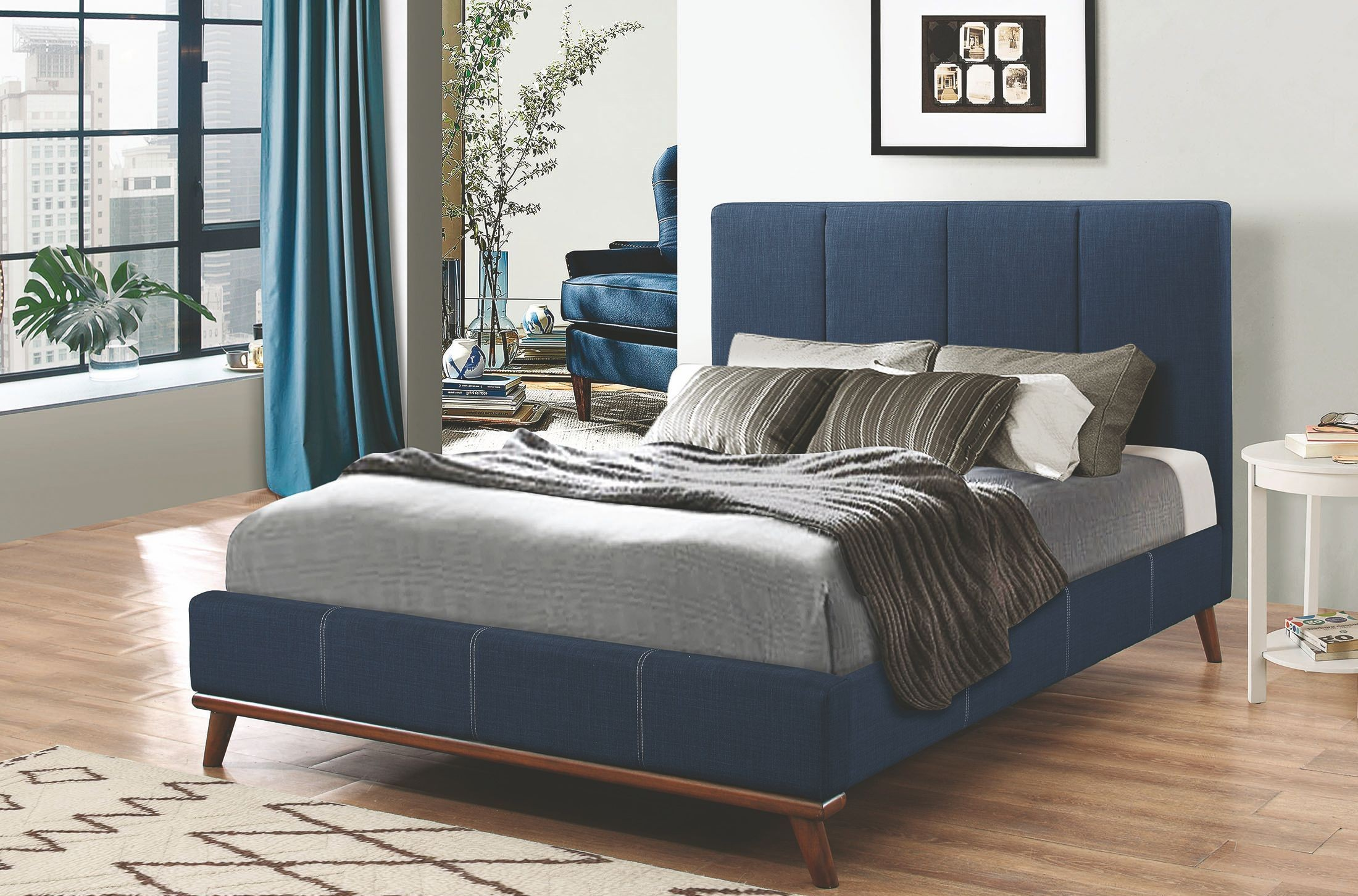 How To Make Headboards For King Size Beds Charity Dark Blue King Upholstered Platform Bed From