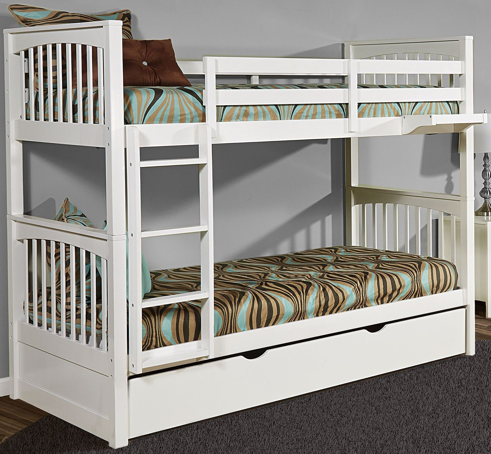 White Trundle Bed Pulse White Twin Over Twin Bunk Bed With Trundle From Ne