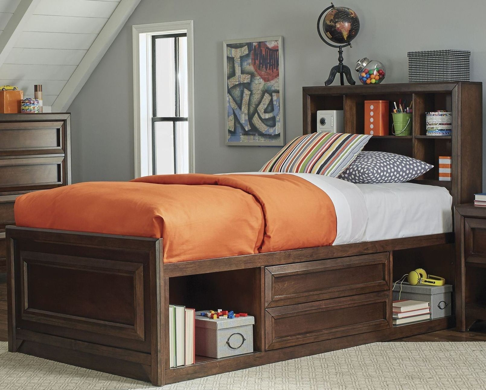 Greenough Maple Oak Twin Panel Storage Bed From Coaster