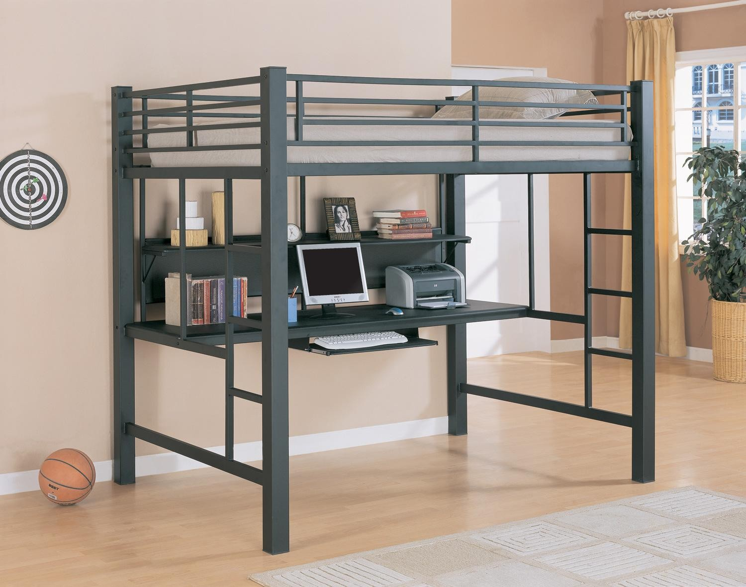 Black Loft Bed Bunks Workstation Black Full Workstation Loft Bed From