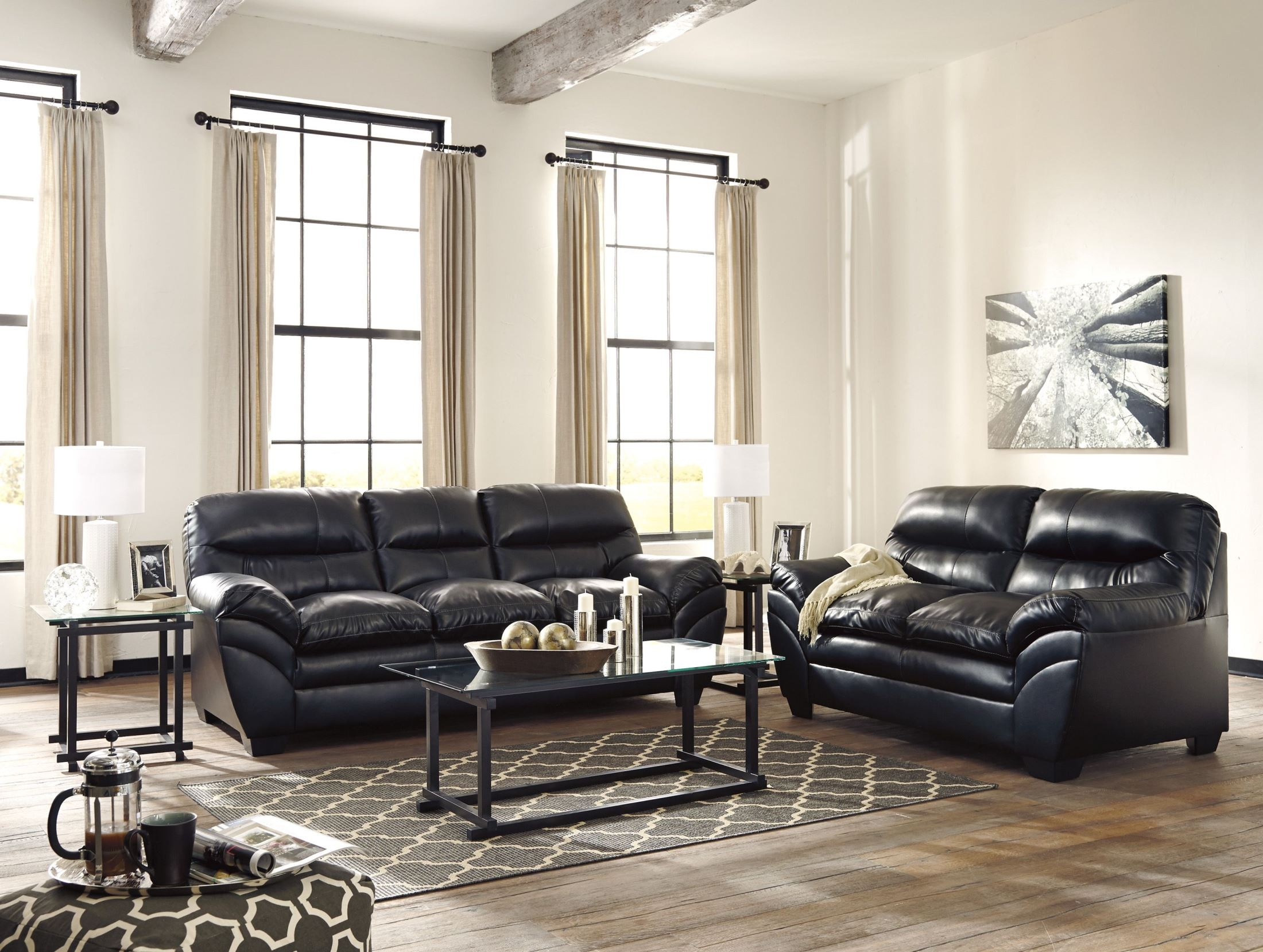 All Black Living Room Tassler Durablend Black Living Room Set From Ashley