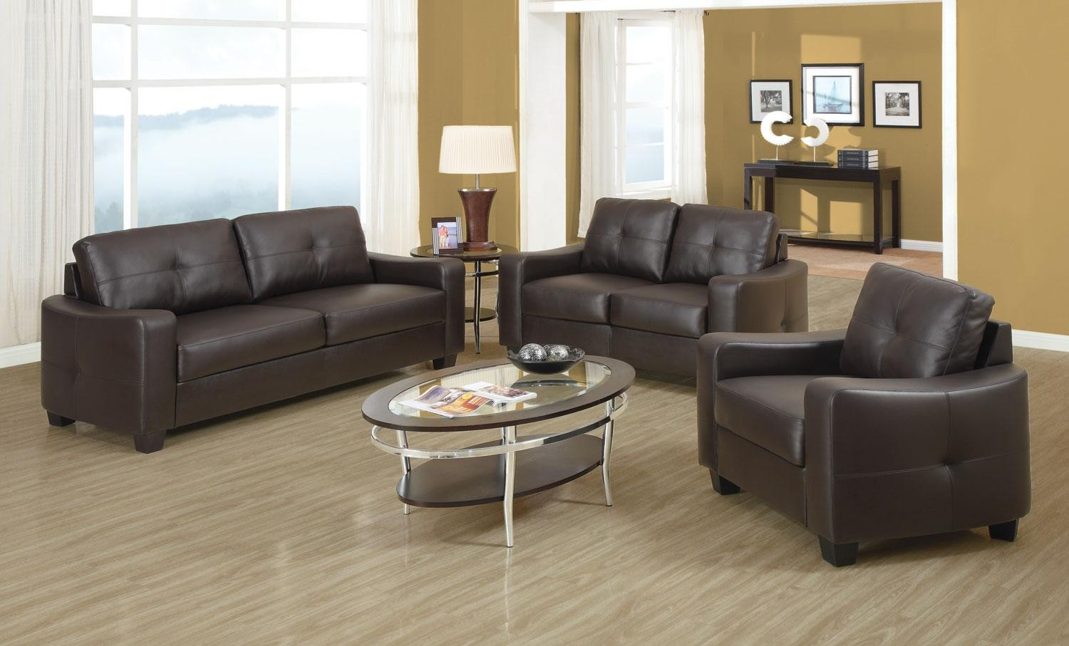 Leather Living Jasmine Brown Bonded Leather Living Room Set From Coaster