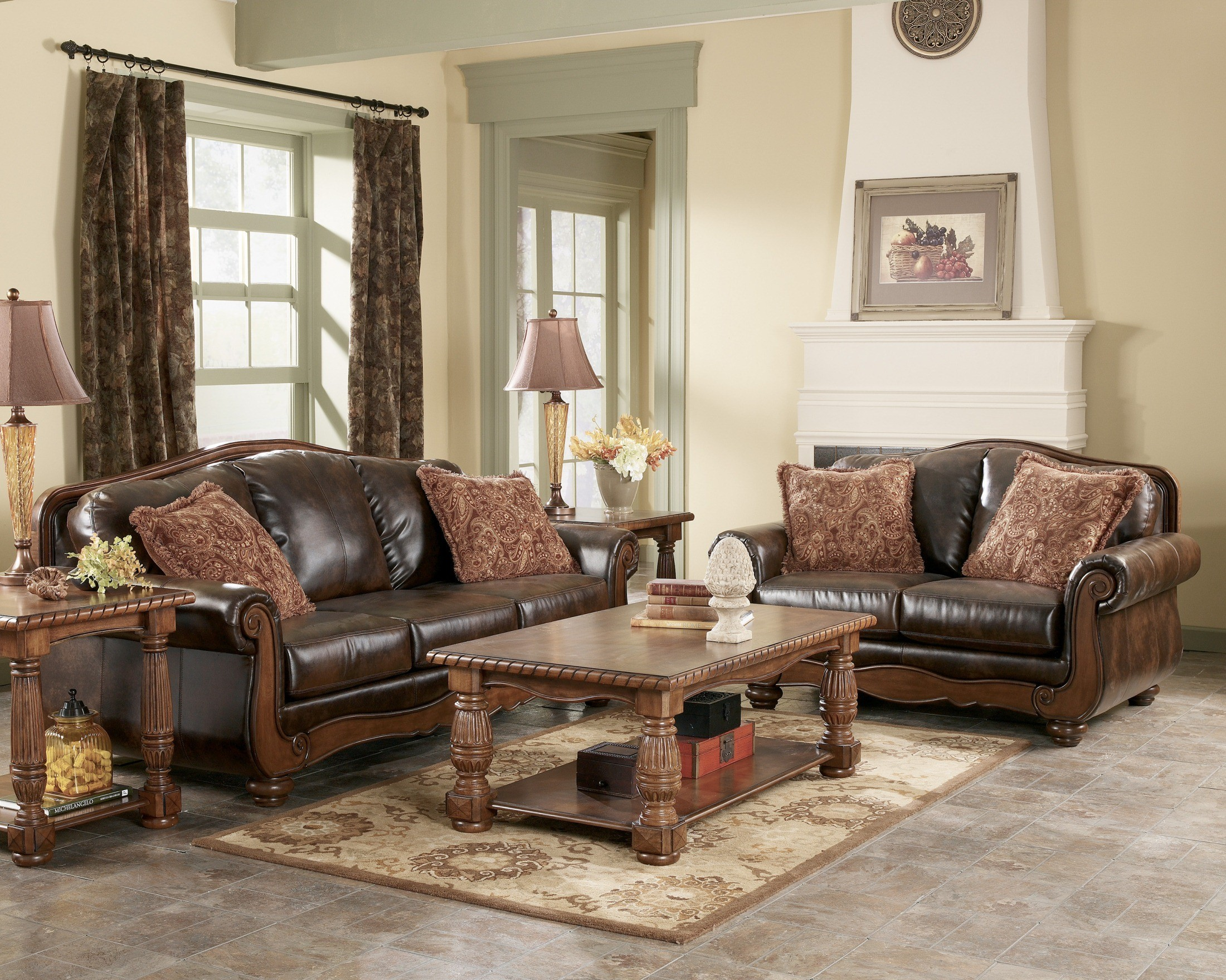 American Classic Living Room Design Barcelona Antique Living Room Set From Ashley 55300