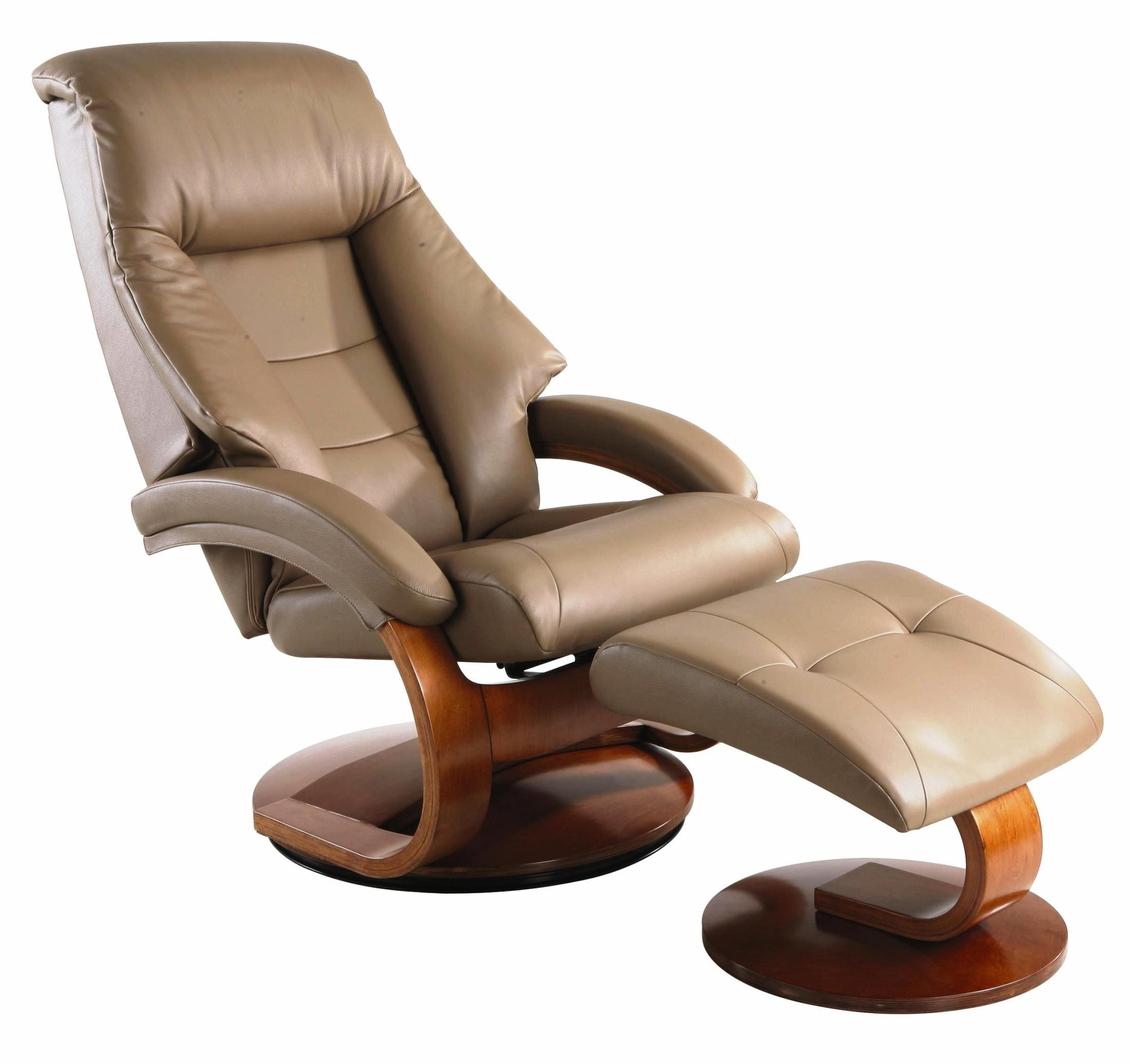 Comfy Chair With Ottoman Oslo Sand Tan Top Grain Leather Swivel Recliner From Mac