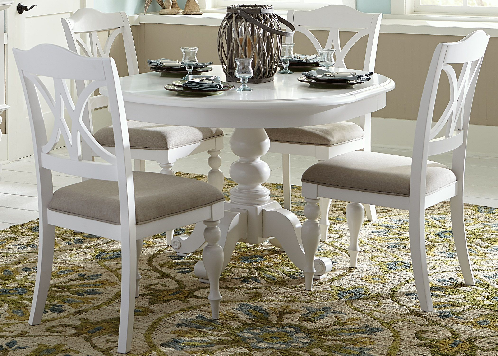 White Dining Table Set Summer House Oyster White Antique White Round Pedestal