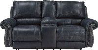 Milhaven Navy Double Reclining Console Loveseat, 6330494 ...