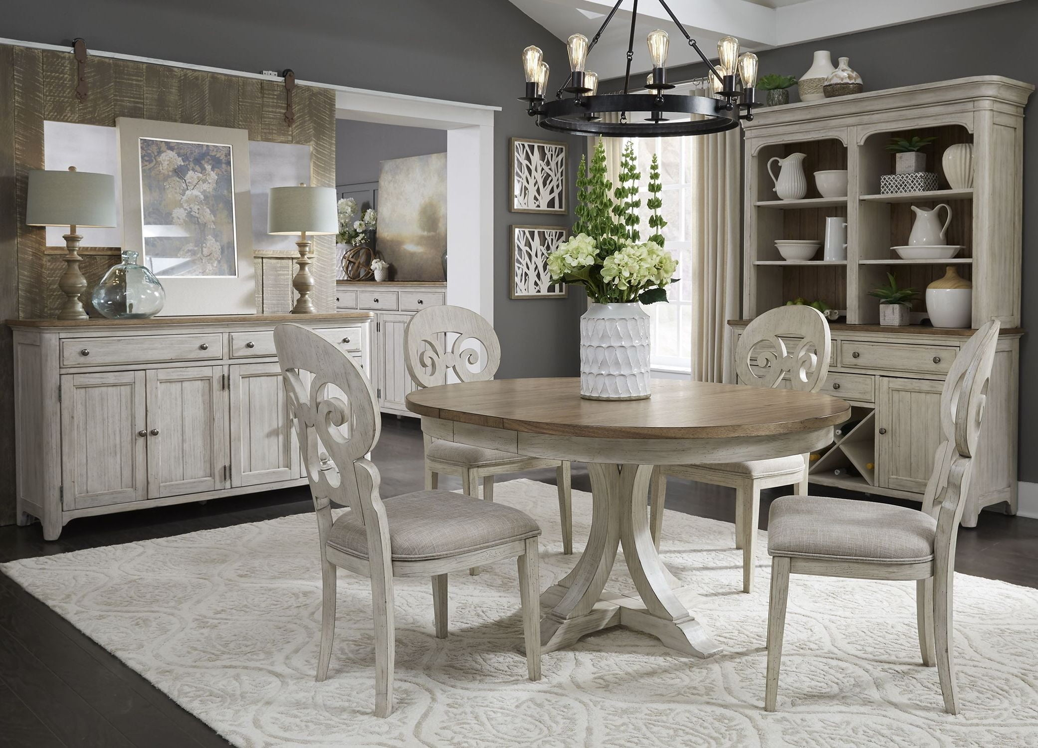 White Dining Table Set Farmhouse Reimagined Antique White Extendable Oval Dining