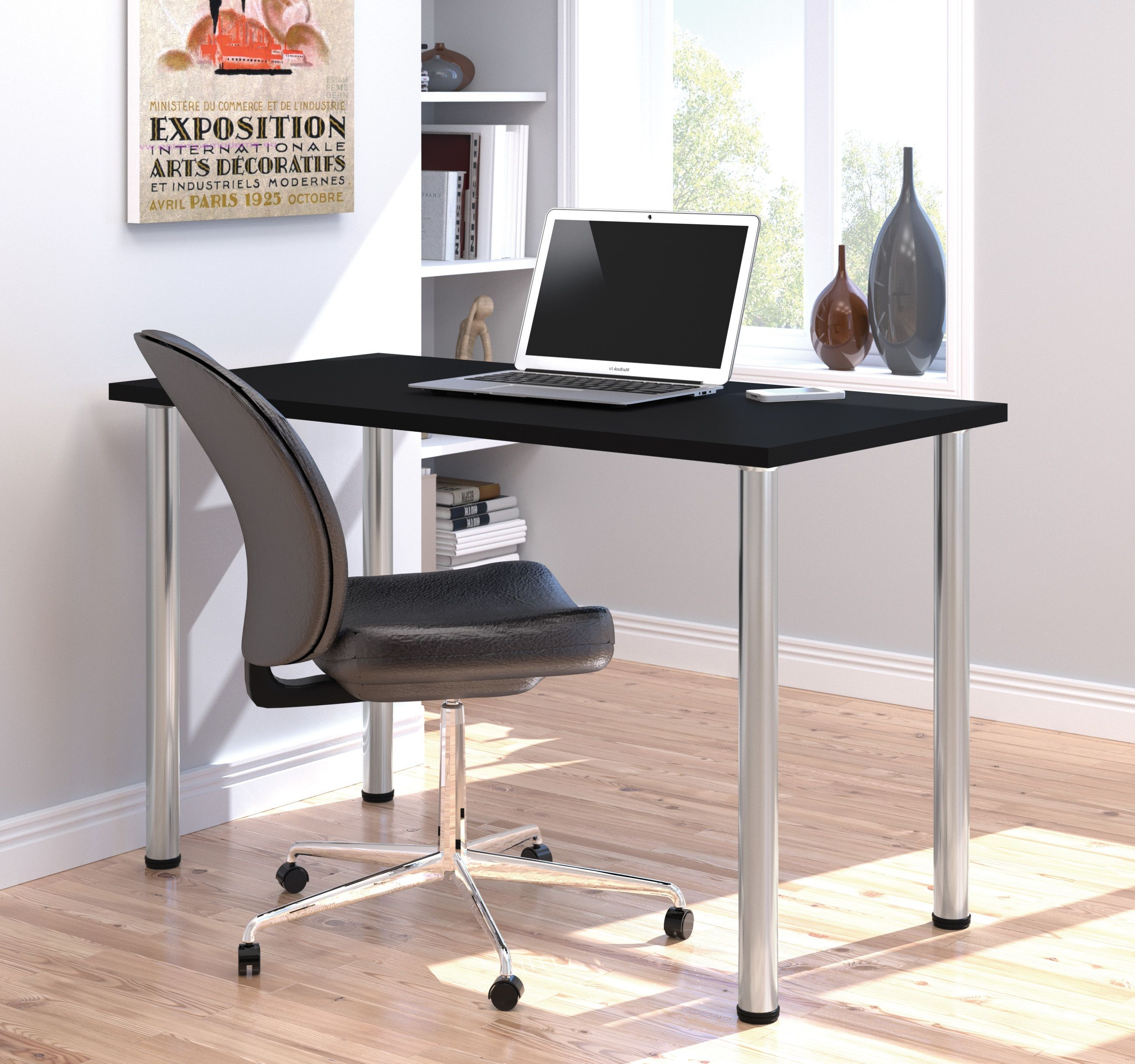 Metal Leg Desk 48 Quot Black Round Metal Leg Table From Bestar 65852 18