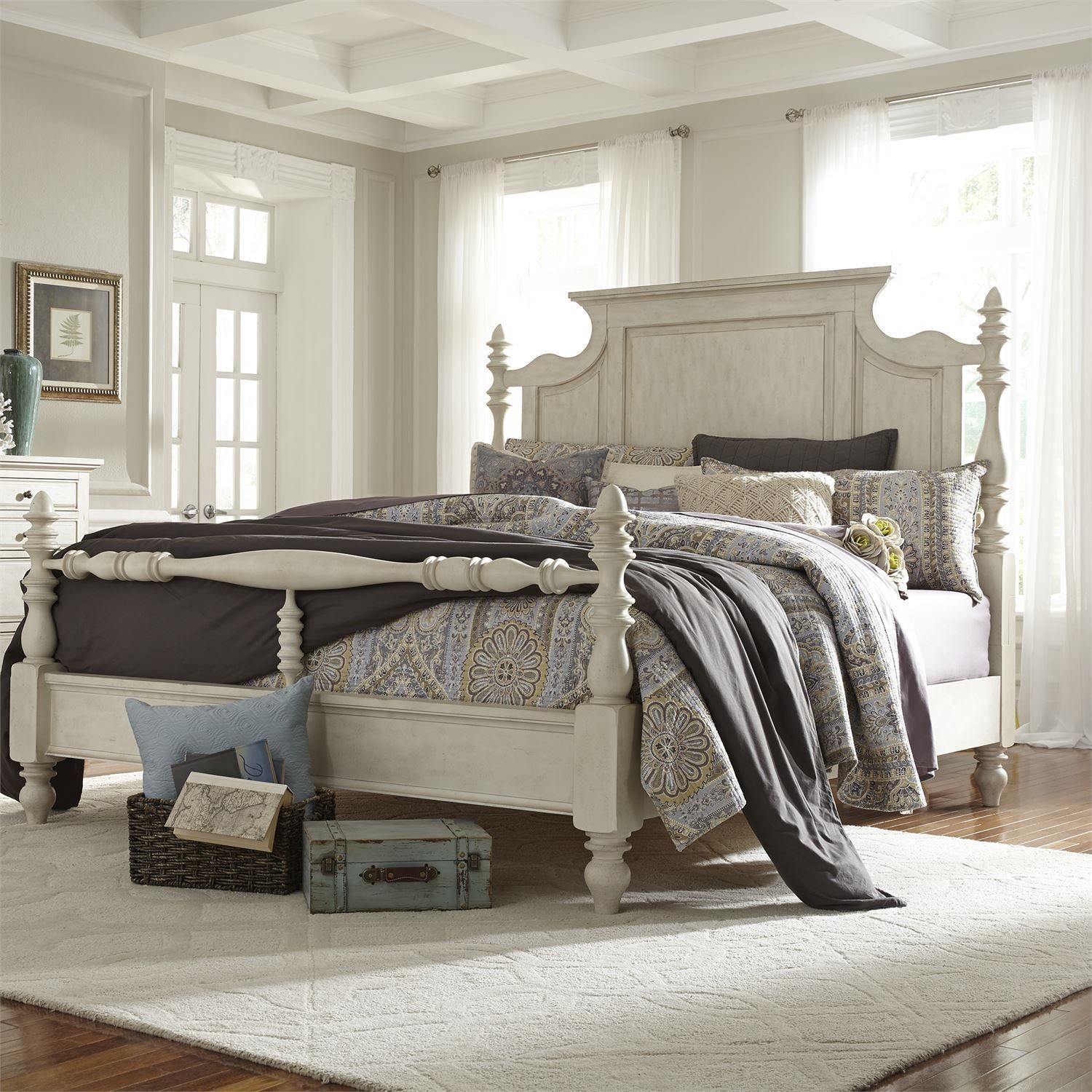 High Post Beds High Country White Queen Poster Bed From Liberty 697 Br