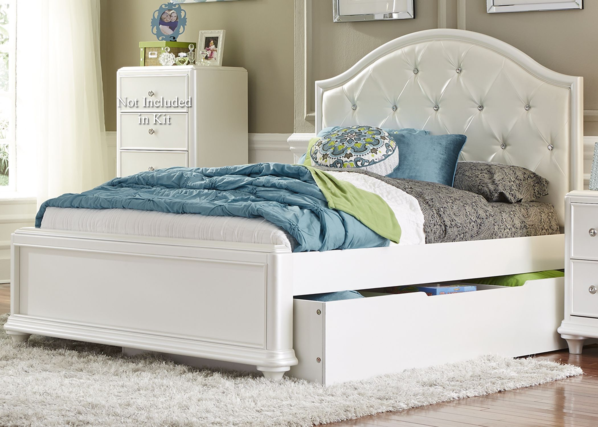 White Trundle Bed Stardust Iridescent White Youth Panel Trundle Bedroom Set