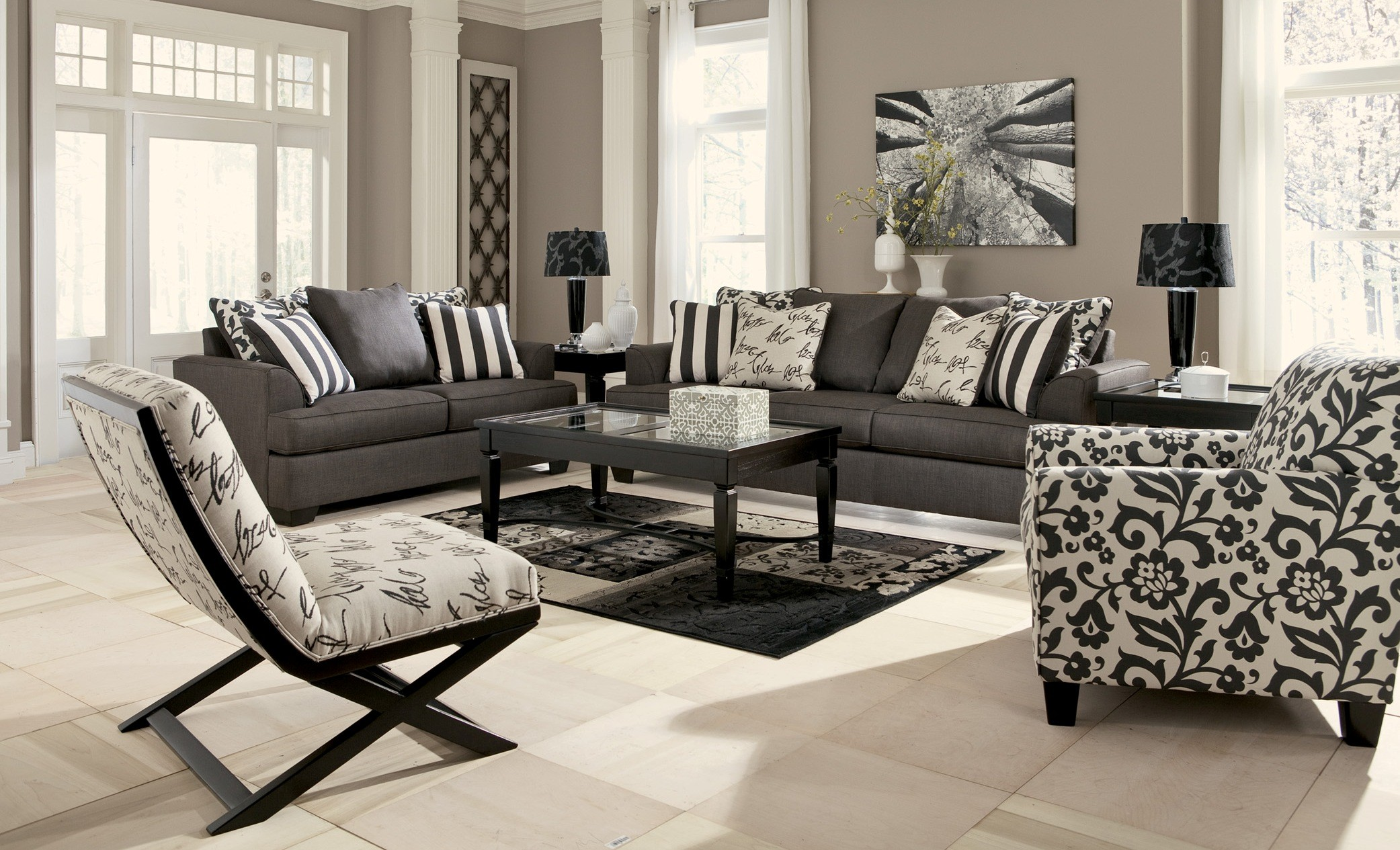 Sala Set Gray Levon Charcoal Stationary Sofa From Ashley 7340338