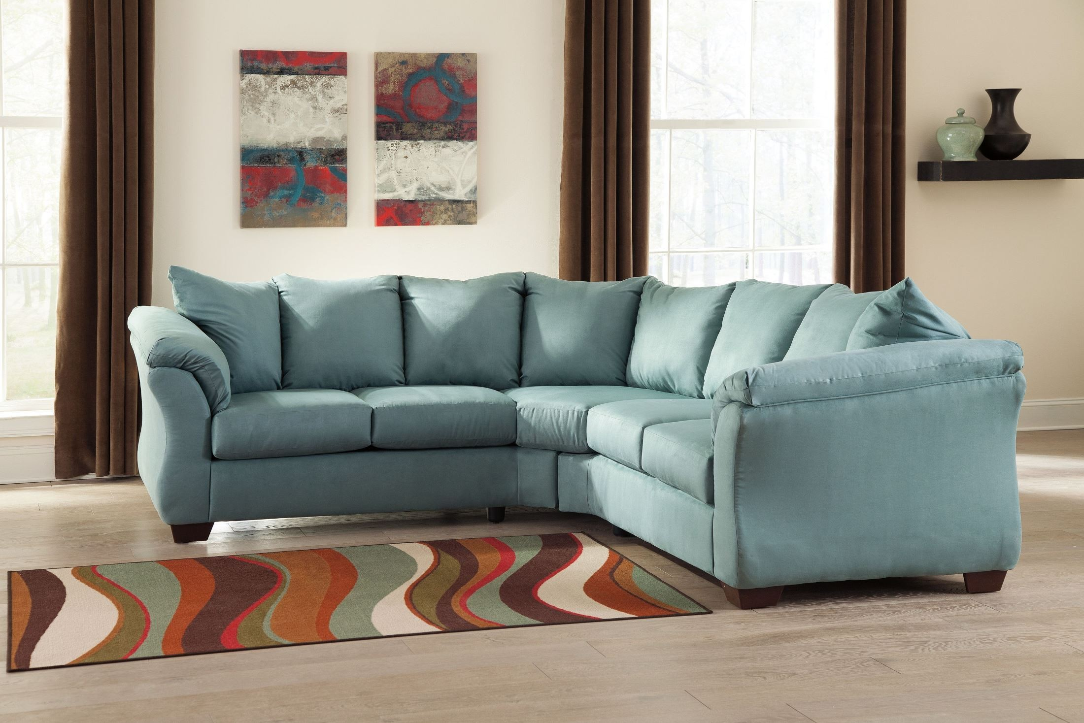 Darcy Sofa Ashley Review Darcy Sky Sectional From Ashley (75006-55-56) | Coleman