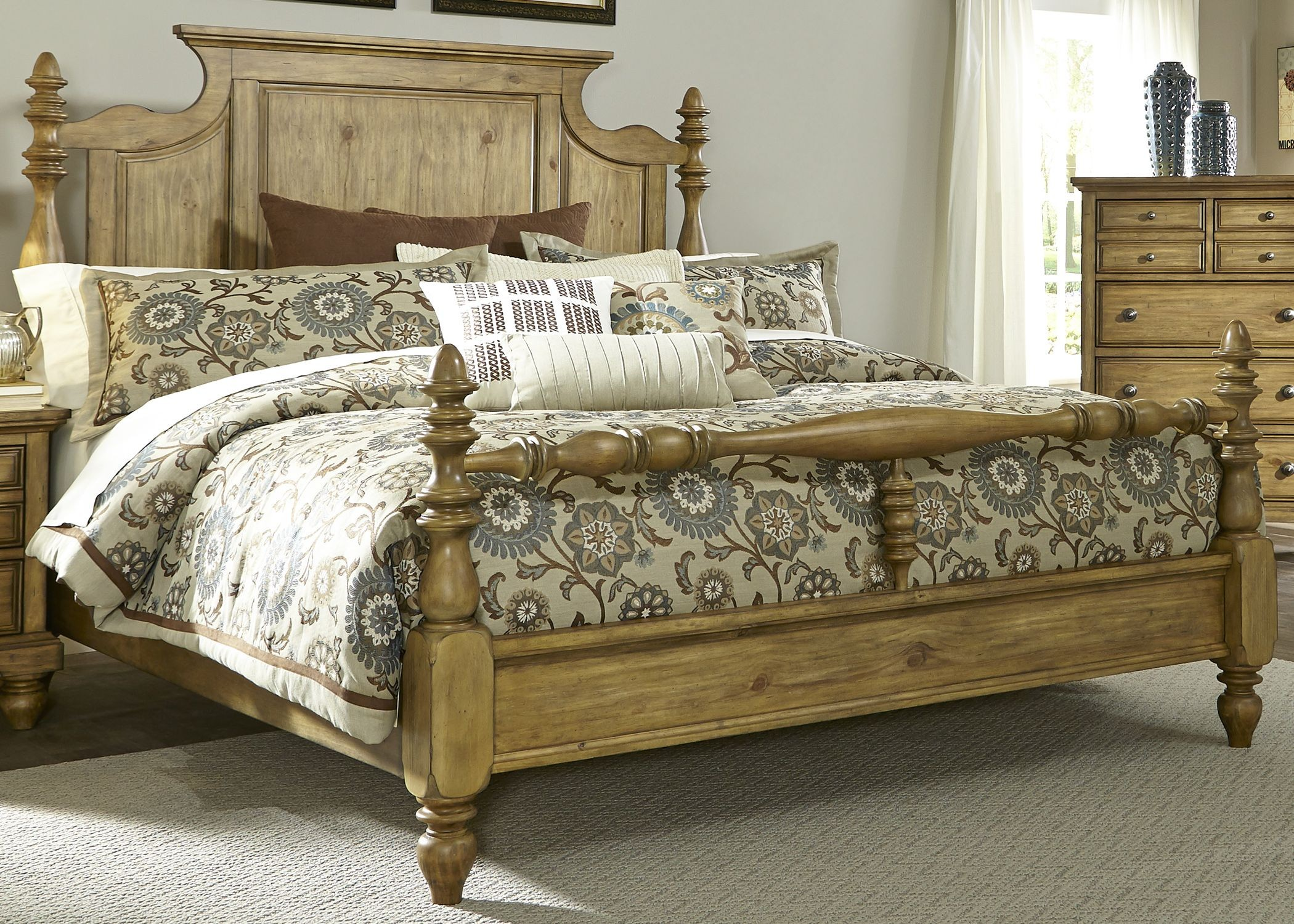 High Poster Bed King High Country Honey Spice King Poster Bed From Liberty 797