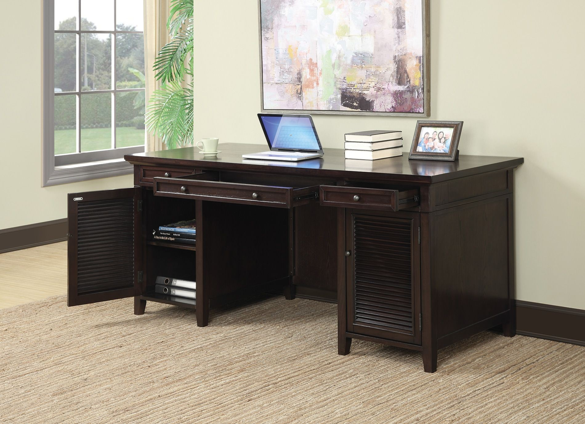 Schreibtisch Dunkelbraun Dark Brown 3 Drawer Desk From Coaster 801097 Coleman
