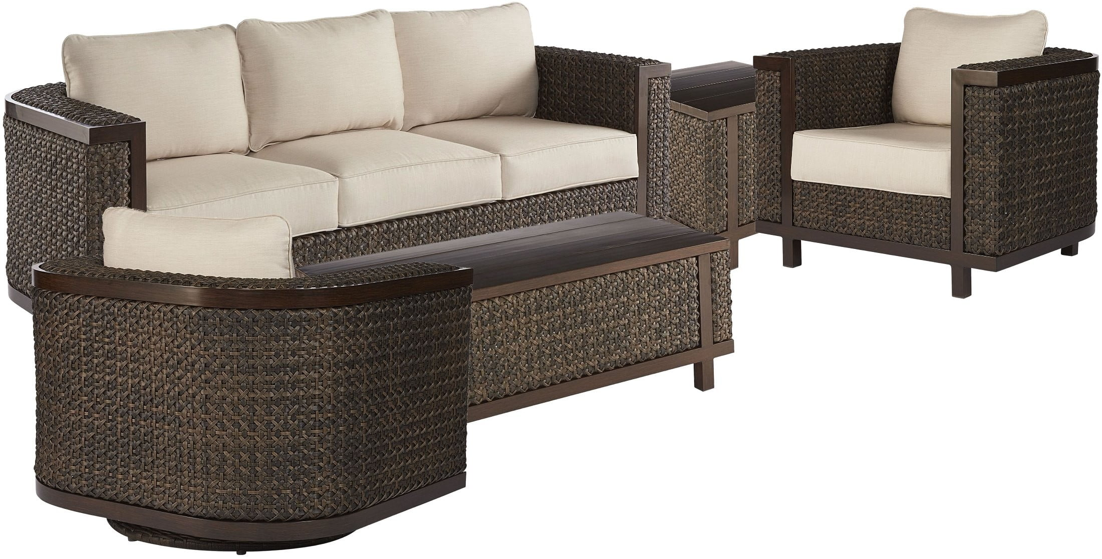 Sofa 60s Epicenters Ebony Brentwood Wicker Outdoor Conversation Set