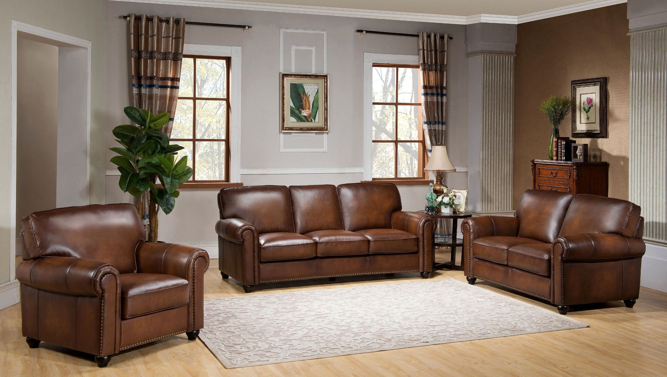 Leather Living Royale Camel Brown Leather Living Room Set C9755s2839ls