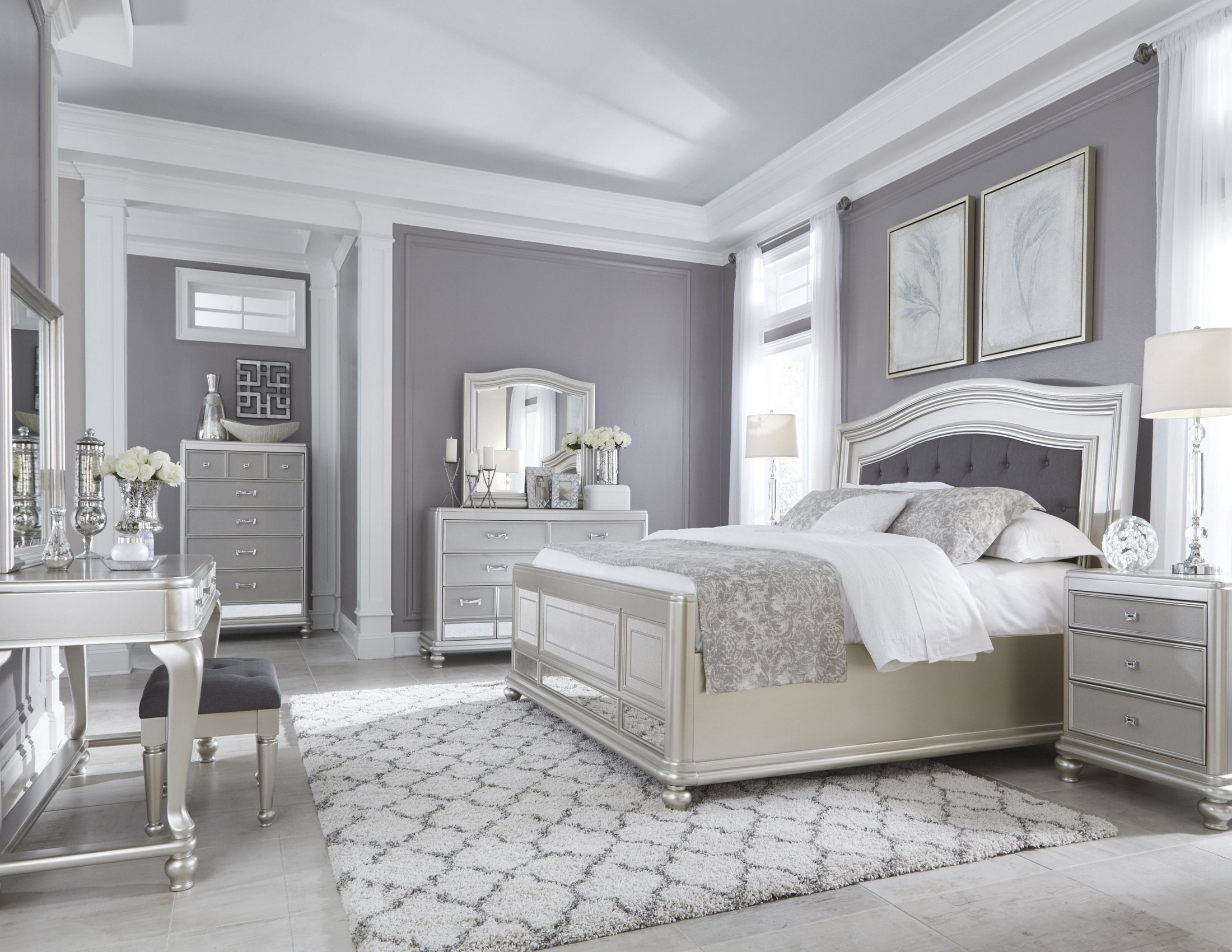 Silver Grey Bedroom Ideas Coralayne Silver Bedroom Set From Ashley B650 157 54 96