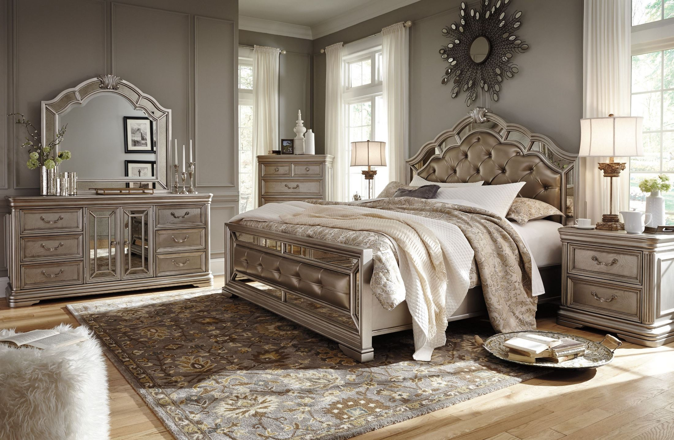 Two Bedroom Set Birlanny Silver Upholstered Panel Bedroom Set B720 57 54