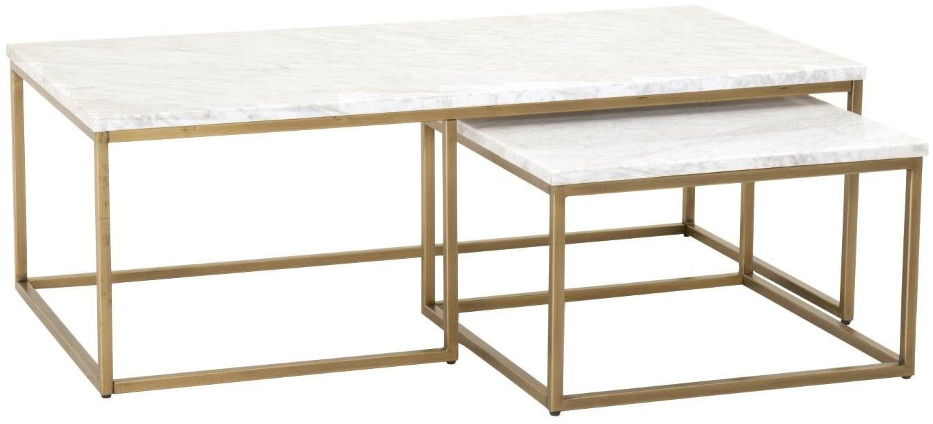 Gold Nesting Coffee Table Carrera Brushed Gold And White Nesting Coffee Table