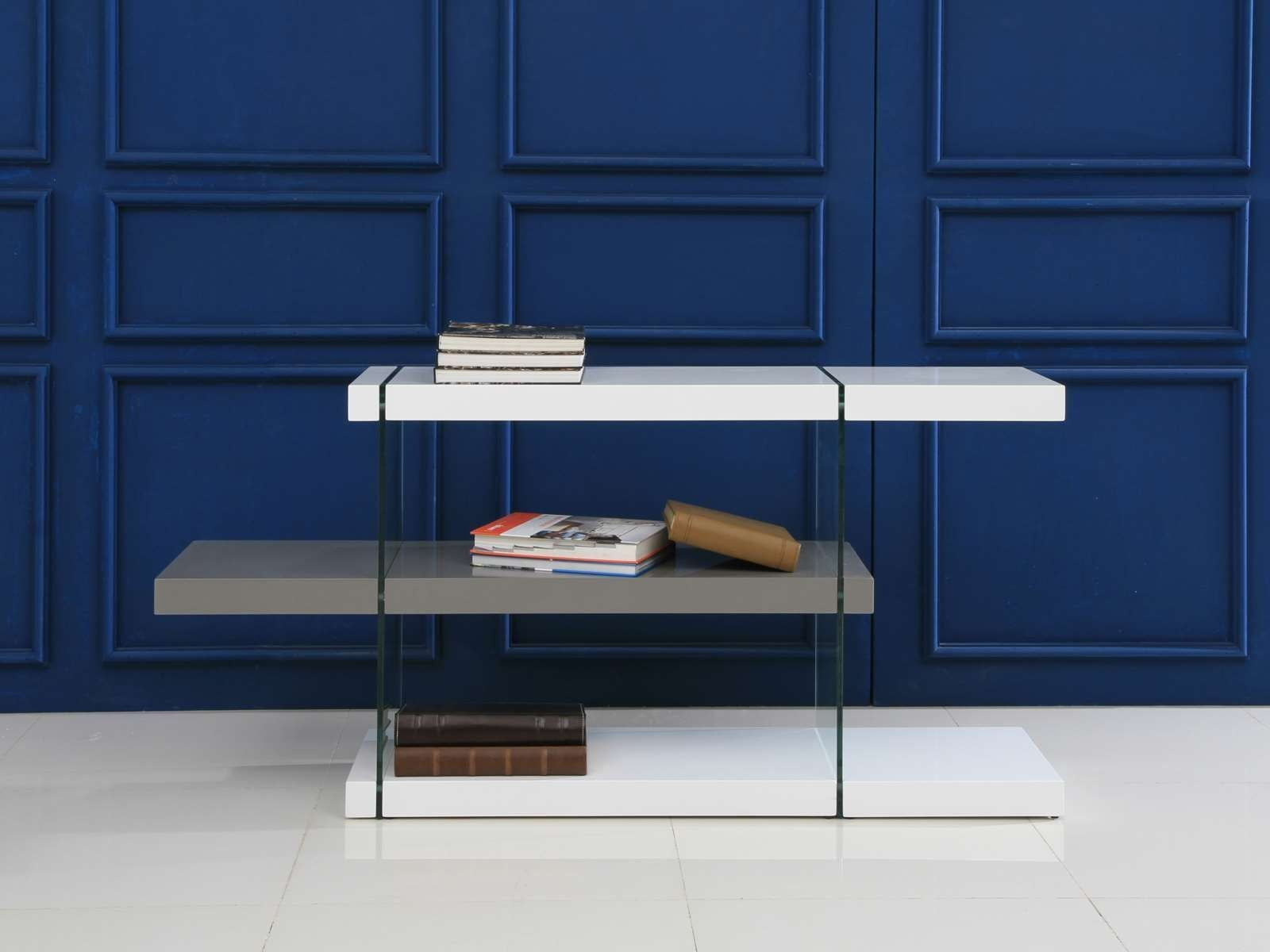 Il Vetro High Gloss White And Gray 55quot Bookcase From