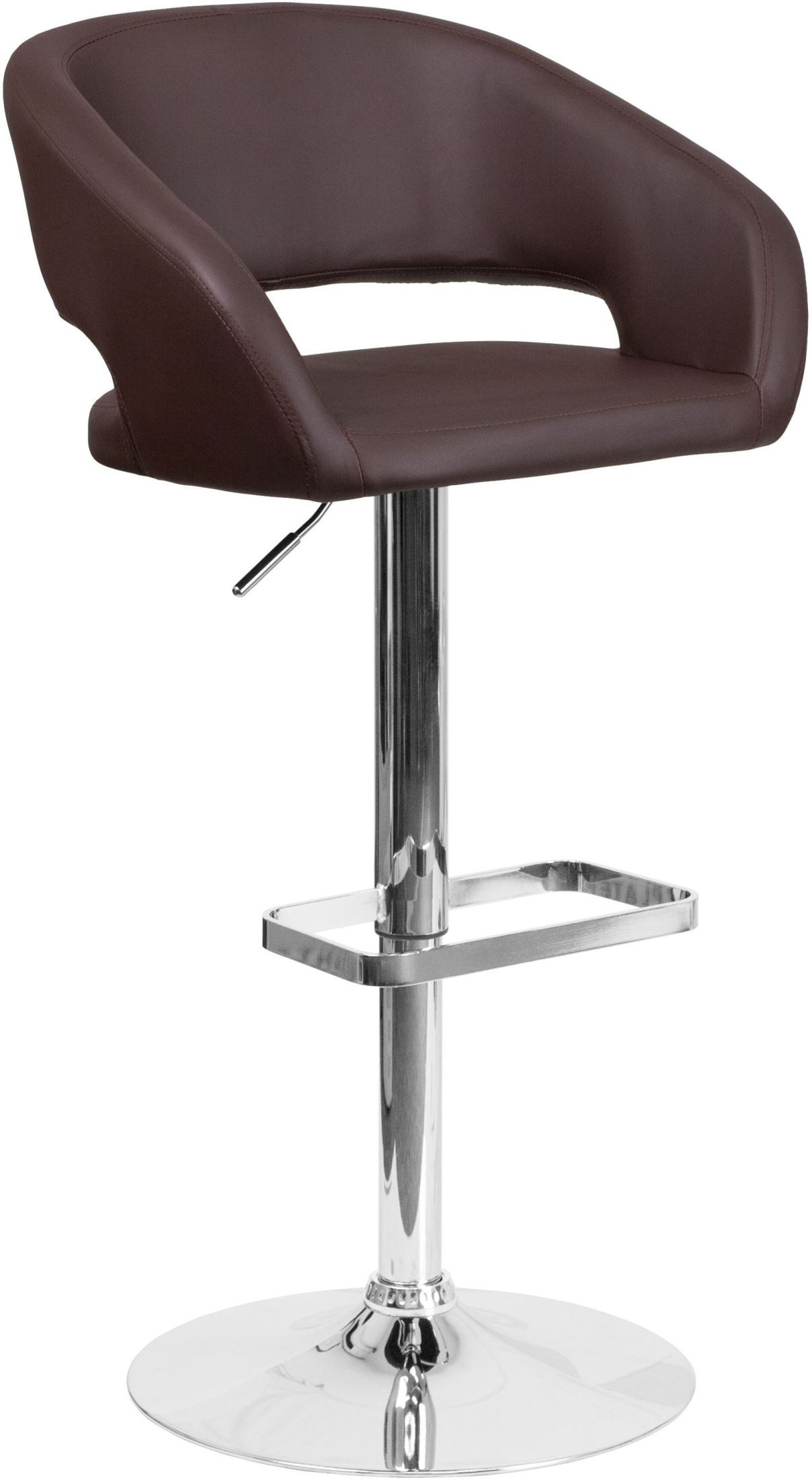 Brown Adjustable Bar Stool Rounded Brown Vinyl Adjustable Height Bar Stool From