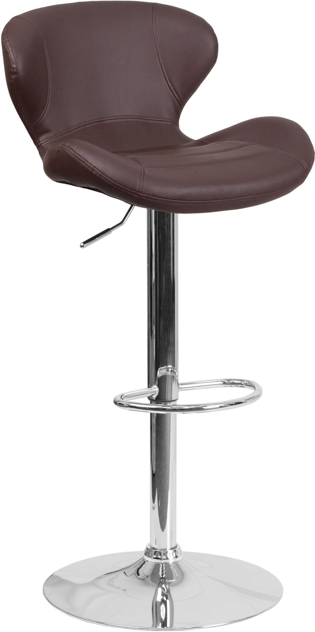 Brown Adjustable Bar Stool Brown Vinyl Upholstery Adjustable Height Bar Stool From