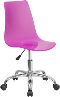 Contemporary Transparent Hot Pink Acrylic Task Chair with ...