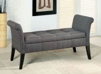 Doheny Gray Fabric Storage Bench from Furniture of America ...