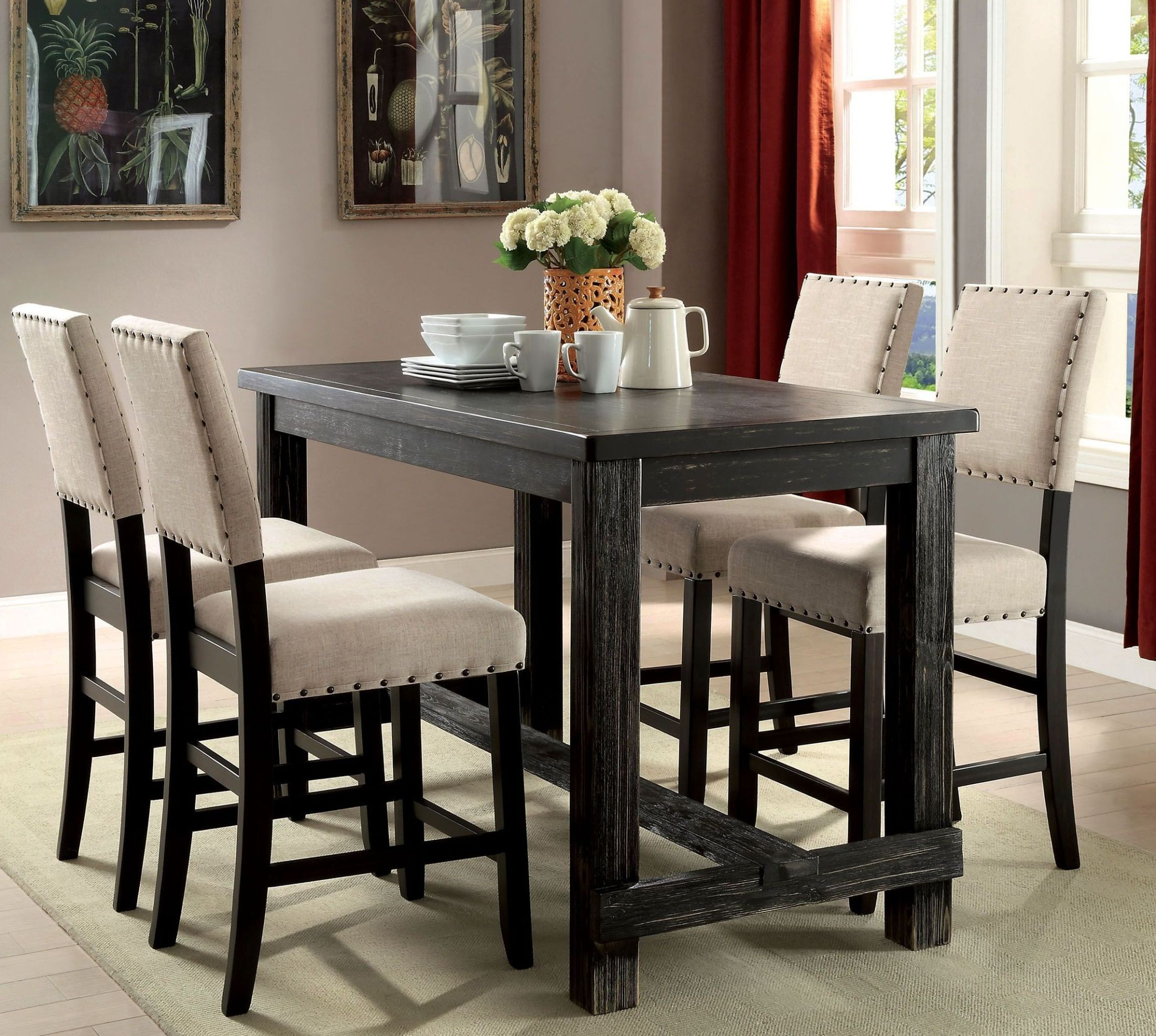 Dining Table Height Cm Sania Ii Antique Black Counter Height Dining Table From