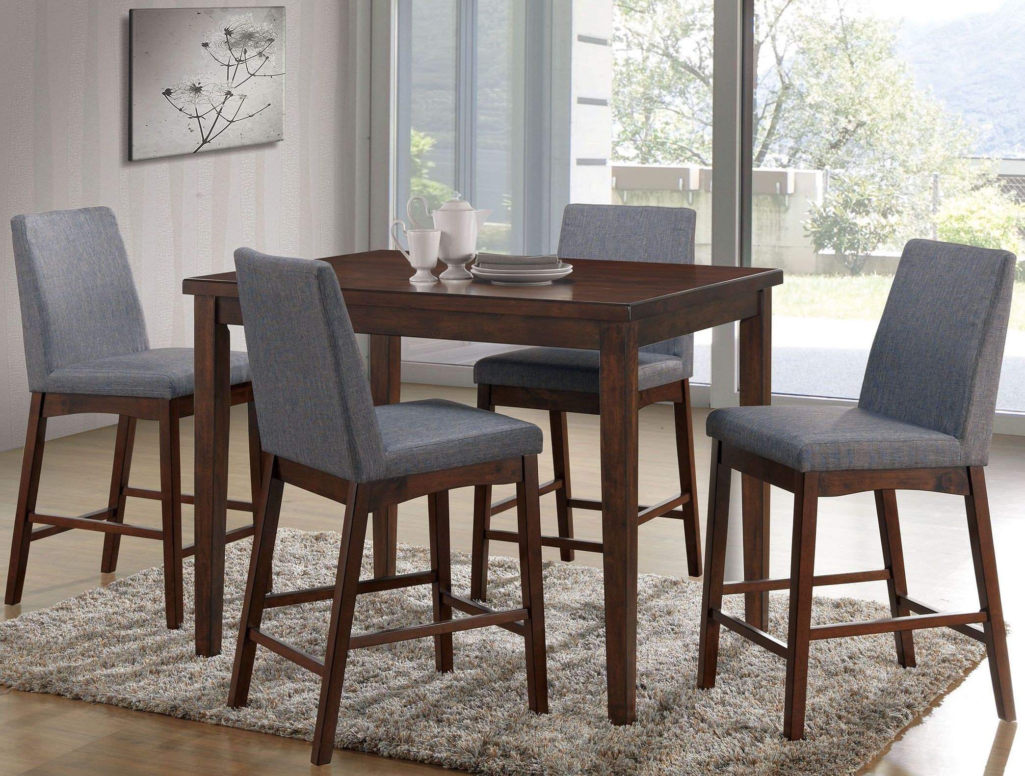 Dining Table Height Cm Marten Brown Cherry Square Counter Height Dining Table