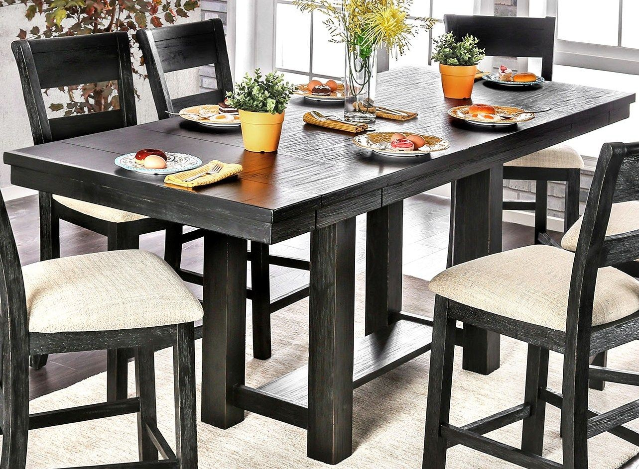 Dining Table Height Cm Thomaston Brushed Black Counter Height Dining Table